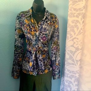 Agora belted floral wrap blouse. Size medium